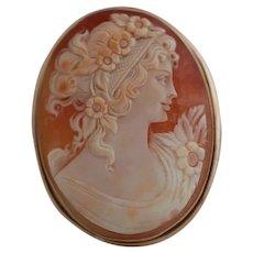 Antique Victorian 14K Shell Cameo Pin/Pendant