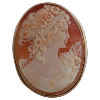 Antique Victorian 14K Shell Cameo Pin/Pendent
