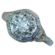 GIA Certified 1.49 Carat 18K White Gold Art Deco Diamond Ring
