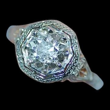 GIA Certified 1.49 Carat 18K White Gold Art Deco Diamond Ring
