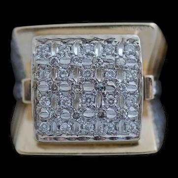 Huge Man's 14K 1.29 Carat Yellow Gold Diamond Ring