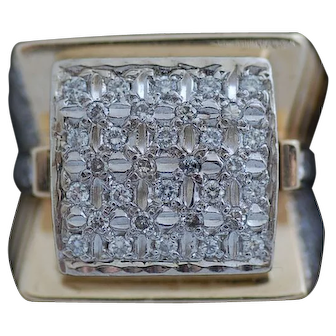 Huge Man's 14K 1.29 Carat Yellow Gold Diamond Ring