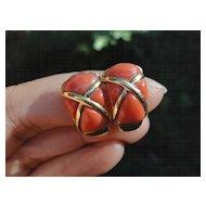 Vintage 18K Italian Orange Red Coral Designer Clip on Earrings