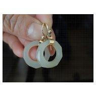 14K Dangling Earrings Made from Antique Chinese Faceted Mutton Fat Jade Hoops