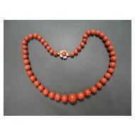 Vintage Orange Red Mediterranean Large Beaded Necklace 14K Flower Clasp