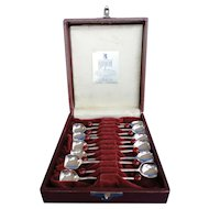 Set 12 English EPNS Demi-spoons Bakelite Cherry Handles