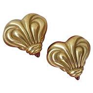 Vahe Naltchayan 18K Gold Heart Pink Tourmaline Earrings Dated 1994 16g