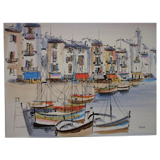 St. Tropez France Harbour View by Listed Contemporary Artist Georges Damin (1942-)