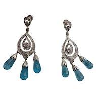 Stunning Art Deco Style 14K White Gold Faceted Blue Topaz Chandelier Earrings