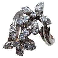 14K White Gold 0.75 Carat Diamonds Flowers Bypass Ring