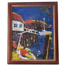 Mid Century Modernist Acrylic Painting Rickety Wharf by Paul W. Holtz C1977