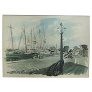 1960s Paul N. Norton Watercolor Framed Art Print Original - Mystic Seaport Connecticut