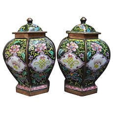 Pair Early 1900s Chinese Export Canton Enamel Ginger Jars Copper Base