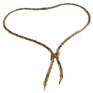 Fabulous Retro French 18K Yellow Gold Braided Lariat Necklace