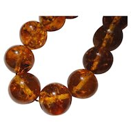 Natural baltic Amber large 14 mm Round Bead Necklace
