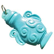 Vintage Hand Carved Persian Blue Turquoise Chinese Vessel Pendant 14k Gold Bail