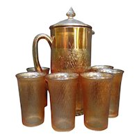 Rare! 8 Piece Jeanette Tree Bark Marigold Carnival Glass Cider Pitcher Tumbler Set with Lid
