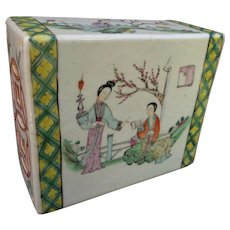 19th C. Chinese Famille Verte Palette Porcelain Pillow Vase or Paper Weight - Dream of the Red Mansion