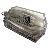 Art Deco Lady's Sterling Silver Coin Purse Make up Compact Black Enamel Silhouette Webster