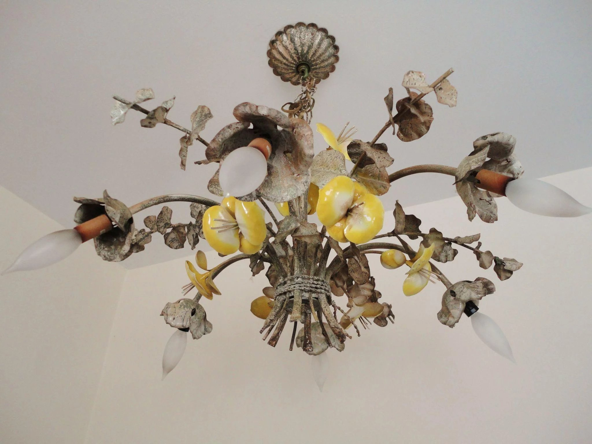Italian tole chandelier enamel yellow pansies six light chandelier click to expand arubaitofo Image collections