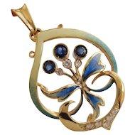 Iconic Art Nouveau 18K Yellow Gold Plique-à-jour Enamel Sapphire Diamonds Pendant