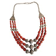 Stunning Natural Coral Three strand Sterling Silver Necklace