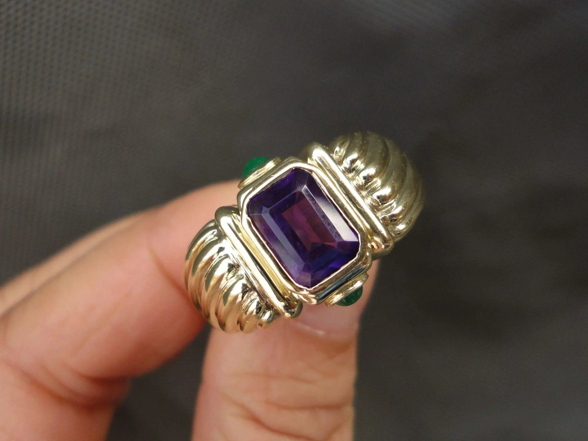 gold yellow renaissance silver sterling yurman emerald david ring amethyst