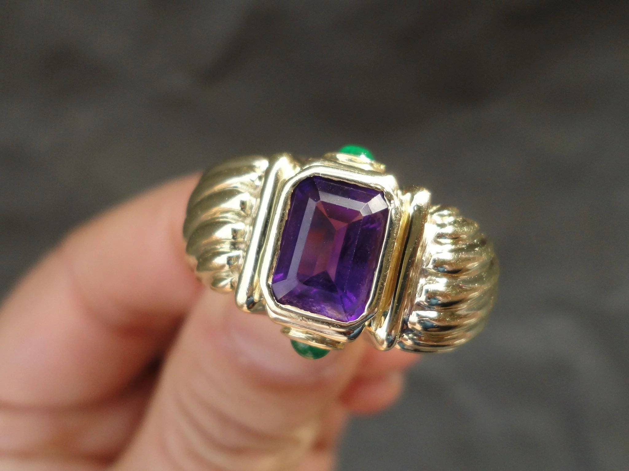 amethyst yurman and earring yellow david b renaissance clip on emerald shrimp gold