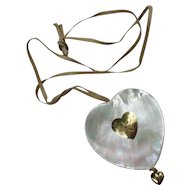 Big Heart Necklace 18K Yellow Gold MOP by Maria Rosaria Cataldo Italy