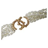 Beautiful 7 Strand Fresh Water Cultured Pearl Necklace Heavy Naturaliztic 14K Yellow Gold Clasp MFA