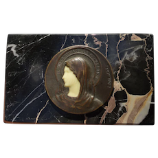 Art Deco French Religious Bronze Medal on Marble Je Suis l Immaculee Conception by L. O. Mattei