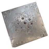 Vintage Italian 800 Silver Powder Compact Lipstick Holder Combo with Genuine Rubies