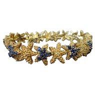 Splendid French 18K Yellow Gold Starfish Sapphire Bracelet