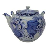 Beautiful Japanese Blue White Teapot Cira 1880s Meiji Period