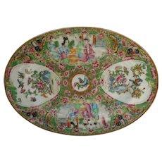 C1850 Rose Medallion 10 inch Oval Platter Fine Chinese Export Porcelain