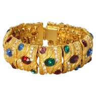 Retro Statement Colorful Rhinestone Slider Panel Bracelet