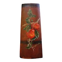 Nice Oil Painting on Antique Barrel Bucket Piece Branch with Apples by Mary Zagrubski