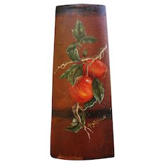 Oil Painting on Antique Barrel Bucket Piece Branch with Apples by Mary Zagrubski Autumn Theme