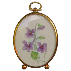 Purple Flowers Miniature Watercolor in Dome Glass Frame by F. Borofsky Dollhouse Decoration