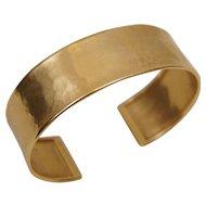 14K Yellow Gold Italy Designer Hammered Finish 14K Yellow Gold Cuff Bracelet