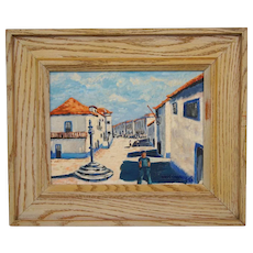 French Village Scene Oil Painting on Board by Ross Connelly