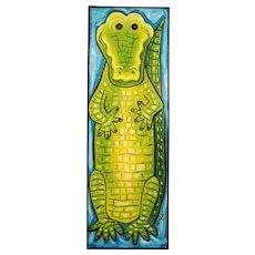 Original Signed Oil Painting Alligator Crocodile- Art for the Nursery Kids Room