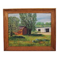 American Country Oil Painting on Canvas Barn House Ross Connelly
