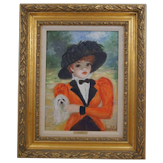 Huldah Cherry Jeffe  (1901 - 2001) Original Oil Painting on Canvas A Stroll with Her Dog