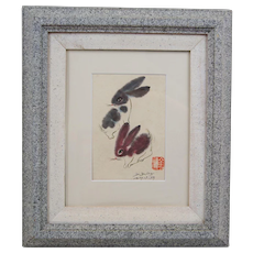 Chinese Water Color Bunny Rabbit Hare Signed and Dated