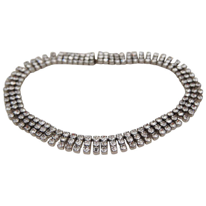ad031d6960 Kramer of New York 3 Row Rhinestone Choker Necklace Prong Set 14.5 inches