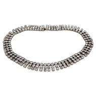 Kramer of New York 3 Row Rhinestone Choker Necklace Prong Set 14.5 inches