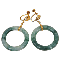 Vintage Chinese Mottled Green Jadeite Jade Hoop Earrings Screw Style 14K Gold