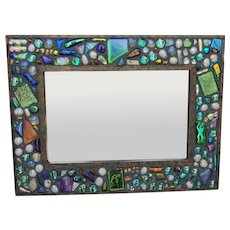 Artist Hand Crafted Beveled Mirror Dichroic Glass Pebble Frame by Dennis Peabody Signed and Dated 1997 - Red Tag Sale Item