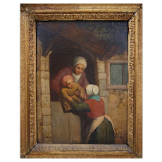 18th Century Dutch Realism Style Oil Painting on Board Mother Handing Baby over the Door